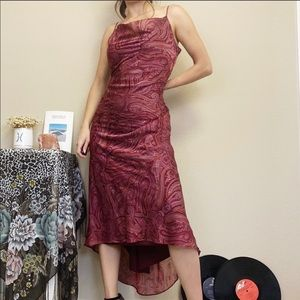 Size 4/6 VINTAGE Party Dress Maroon & Gold Paisley
